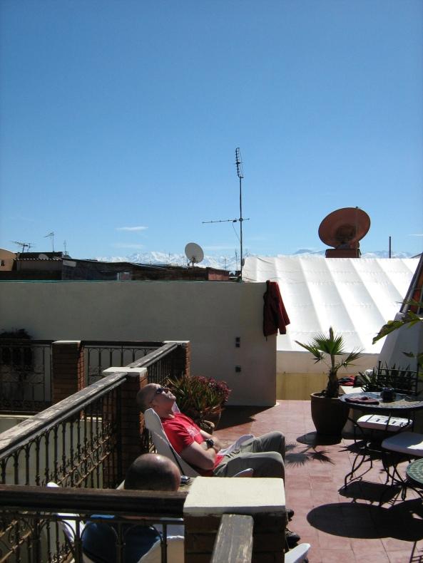Enjoying the sun on the roof terrace