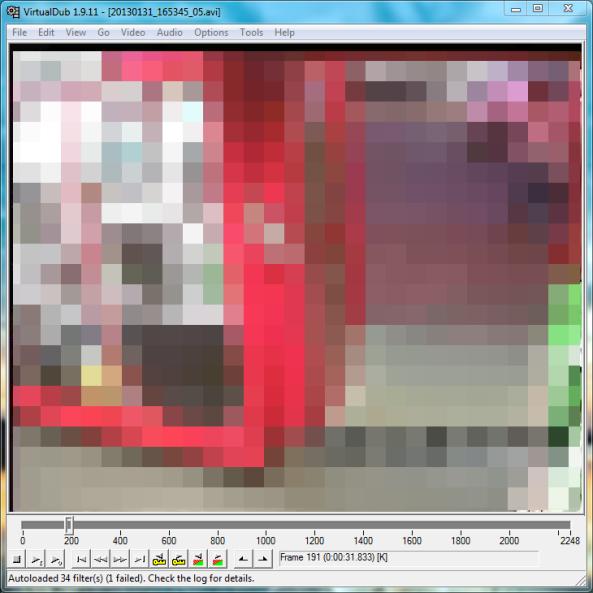 Playing the Single Camera h264 .avi file in Virtualdub