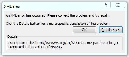 xml error