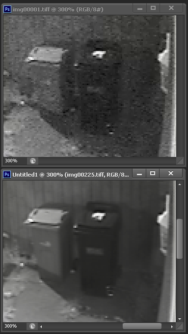 Single I frame at Top compared to the frame averaged image using many. 'Zoomed' in to highlight noise reduction.
