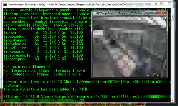 Using FFplay within the Windoes Cmd prompt to play a raw stream